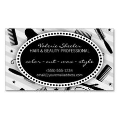 Black & Gray Hair & Beauty Appointment Business Cards