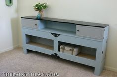 Up-Cycled Entertainment Storage Center from a Queen Headboard