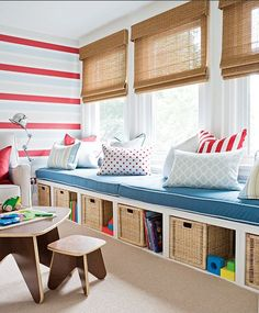 Not sure what to do with a spare room in your home? Transform the space into the ultimate kids playroom! From indoor swings and cool forts to ball pits and reading nooks, check out these 21 kids playroom ideas! Window Seat Storage, Window Seats, Room Window, Window Benches, Window Wall, Window Nooks, Window Bed, Playroom Design, Playroom Storage