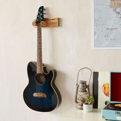 Personalised Guitar Stand And Plectrum Holder By Mij Moj Design | notonthehighstreet.com Guitar Wall Stand, Guitar Wall Hanger, Guitar Display, Types Of Guitar, Gift For Music Lover, Music Lovers, Wooden Gifts, New Home Gifts, Gifts For Teens