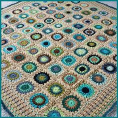 One hundred starburst granny squares (no two the same!) finished with a block stitch border. Ten shades of Stylecraft DK in browns, blues, & greens - pretty mix of lights & darks. Crochet Motifs, Crochet Blocks, Crochet Borders, Crochet Squares, Crochet Granny, Crochet Blanket Patterns, Crochet Blankets, Freeform Crochet, Crochet Home