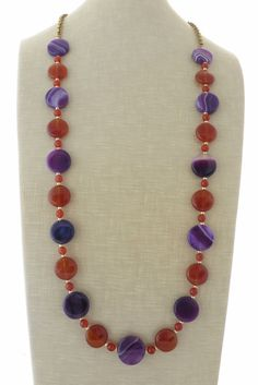 Agate necklace purple agate necklace orange by Sofiasbijoux