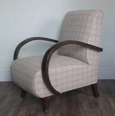 The Unique Upholstery & Design Studio: Art Deco Club Chair 1930 Walnut Abraham Moon Pure Wool Fabric