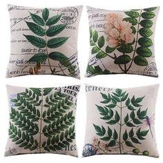 4pcs/new design/plants/leaf//floral/decorative cushion cover/throw pillow case/ natural style/cotton and linen/classical