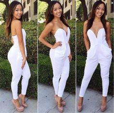 Fashion Rompers Womens Jumpsuit Sexy White Playsuit Club Bodysuits Elegant Sleeveless Bandage Jumpsuits Lileele $32.98