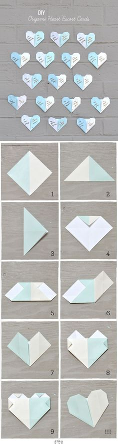DIY: ORIGAMI HEART ESCORT CARDS 하트 종이접기