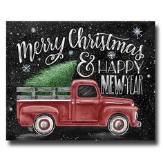 Merry Christmas Sign Happy New Year Chalkboard Art Chalk Decor Vintage Truck