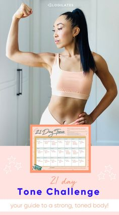 Let's get toned and strong with this full body workout toning challenge from Blogilates! Get the free workout schedule for a toned body and be sure to take some before and after photos to track your progress of your fitness journey! Get Toned, Toned Arms, Thigh Exercises, Back Exercises, Free Workout, Butt Workout, Total Body, Full Body, Toned Stomach