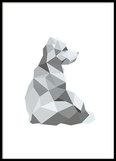 A graphical poster with a bear in a polygonal pattern. Polygonal patterns are becoming very popular and they go well with most interior styles. The print looks great just by itself or combined with other posters of similar style in a personalized art wall collage. www.desenio.co.uk