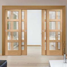 Thruslide Shaker Oak 4L - 4 Sliding Doors and Frame Kit - Clear Glass - Prefinished - Lifestyle Image.    #slidingoakdoor