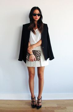 Black blazer, white tee, mini skirt, leopard clutch & black Valentino Rockstud heels #style #fashion