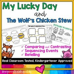 Your class is sure to LOVE these 2 classic picture books with surprise endings by Keiko Kasza… and YOU'LL love all the reading skills they lend themselves so beautifully to! Grab My Lucky Day and/or The Wolf's Chicken Stew from your library (you don't have to use both books unless you want to do the compare/contrast) and you have a wonderful instant, print & go lesson (or several, depending how you'd like to spread it out!).