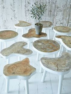 I was LITERALLY Just thinking about making stools of different heights for my plants.  What a unique idea!
