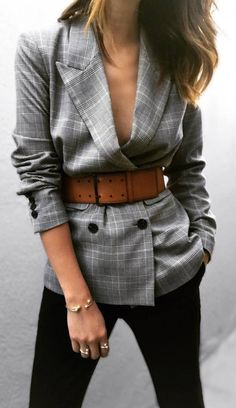 what to wear with a brown belt : plaid blazer + black pants