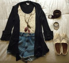 high waisted shorts outfit... I own everything in this picture minus the jacket.!!