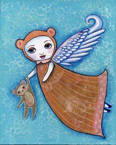 Acrylic Painting Original Mixed Media The Angel by ODDimagination