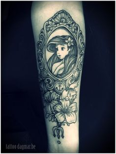 Ariel the little mermaid tattoo, childhood memories! , just love the mirror and flowers