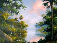 "Florida Highwaymen HAROLD NEWTON - BEND IN THE SAINT LUCIE RIVER Incredible detailed & colored river scene 24"" X 30"" Oil painting on Masonite Board ~ Circa 1975 Old Frame"