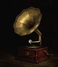 Ancien gramophone à pavillon