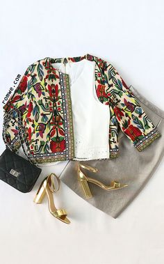Vintage Style - Multicolor Tribal Print Outerwear With Embroidered Tape Detail