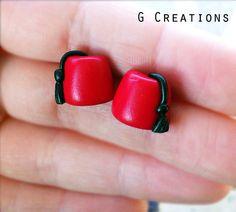 Doctor Who Fez Earrings - Stud or Dangle - Whovian Geek Jewelry - Handmade Miniature Fez - Matt Smith - Eleventh Doctor - 11th Doctor