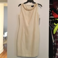 NWT Tahari white/gold shift with pearl beading Such a fun dress for work or holiday! Never been worn - still has tags. Gorgeous gold/white knit fabric. Tahari Dresses Midi