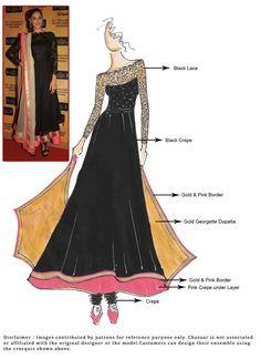 DIY Nargis Fakhri Black Anarkali Suit