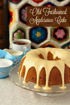 Applesauce Cake with Maple Glaze - an old fashioned favourite just like Grandma used to bake; lightly spiced with cinnamon and nutmeg and topped with a sweet maple glaze.