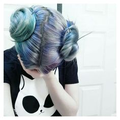 Grunge dyed turquoise and blue hair with buns ninjacosmico.com ❤ liked on Polyvore featuring hair