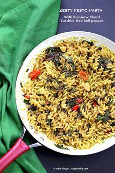 Zesty Pesto Pasta with Rainbow Chard, Zucchini, Red bell pepper | VeganRicha.com #vegan #pasta