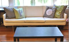 Spray Painted Vinyl Couch!!! So doing this to my mid century vinyl fold down sofa from a garage sale... yay! Thought I'd have to reupholster!