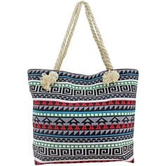 Blue Multicolor Greek Key Pattern Oversize Beach Tote Bag ($25) ❤ liked on Polyvore featuring bags, handbags, tote bags, totes, blue, fashion bags, beach tote, beach bag, zippered tote and tote handbags