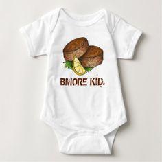 #BMORE KID Baltimore Maryland Crab Cake Crabcake Baby Bodysuit - #giftideas for #kids #babies #children #gifts #giftidea