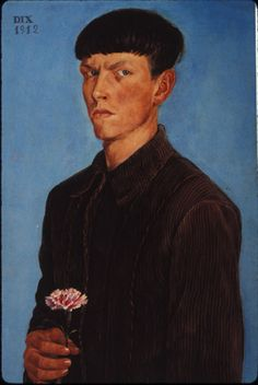 otto dix. Self-Portrait with Carnation. At twenty-two Albrecht Dürer painted the Self-portrait with Carnation (1493, Louvre), probably to send to a new fiancée. At twenty-one, Dix knodded in the master's direction when he painted a similar motif.