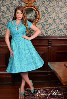 Adaline Dress - Turquoise Palace | Cherry Velvet | Vintage Inspired Dresses made in Canada