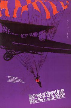 Ilustración de la mano de Phil Hays y diseño concebido por Ivan Chermayeff, a favor de la Escuela de Artes Visulaes (c. 1960).