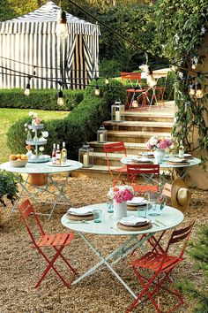 Cafe folding table and chairs are the perfect way to add groupings of seating to your backyard. We love the way these create that European feel, but in fun colors that feel like Summer!