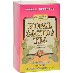 Only Natural Nopal Cactus Tea Caffeine Free Natural Mint - 20 Tea Bags - Only Natural Nopal Cactus Tea Caffeine Free Natural Mint Description: Herbal Beverage Natural Mint Flavor No Caffeine 20 Bags Nopal cactus has been used as a natural alternative to relieve inflammation and to promote healthy blood sugar levels. Free Of Caffeine Disclaimer These statements have not been evaluated by the FDA. These products are not intended to diagnose, treat, cure, or prevent any disease. Organic: NA…