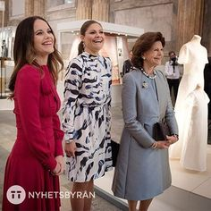 Queen Silvia of Sweden with daughter Crown Princess Victoria  and daughter-in-law Princess Sofia attended the opening an  an exhibitionof their wedding dresses  Oct. 17, 2016
