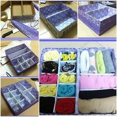 It is awesome to take some recycled cardboard, such as packing boxes, and make a nice drawer divider storage box, as shown in this DIY project. With its multiple dividers and compartments, this organizer is a great space saver to put away your underwear, socks, towels, bras, ties, scarves and …