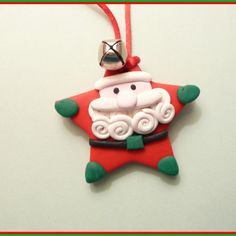 $15.00  Santa Christmas Necklace with Jingle Bell – handmade polymer clay