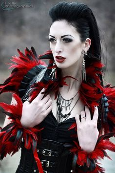 KinkyKex latex red feather burlesque shrug/bolero/belt via Etsy