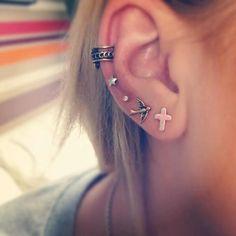 Ear piercings.