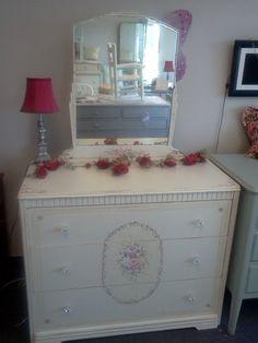 Vintage Shabby Chic Custom Painted Furniture www.handpaintedbycookie.com  Vintage Shabby Chic Handpainted  Dresser by HandpaintedbyCookie,