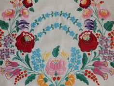 Hungarian hand made embroidery vintage pillow