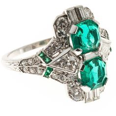 Pre-owned Art Deco  Emerald Diamond Platinum Ring ($9,445) ❤ liked on Polyvore featuring jewelry, rings, fashion rings, enhancer ring, emerald ring, deco diamond ring, diamond jewelry and diamond rings