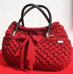 Borse c. borsa artigianale donna fatta a mano uncinetto rossa bordeaux