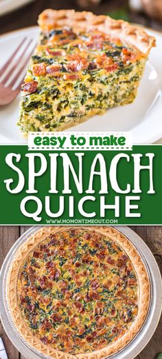 You're going to love this cheesy Spinach Quiche! The ultra creamy filling is perfectly complemented by the flaky crust. This quiche recipe is great for breakfast, brunch, lunch, dinner or anything in between. Easy and delicious! // Mom On Timeout Brunch Recipes, Easy Dinner Recipes, Great Recipes, Breakfast Recipes, Easy Meals, Favorite Recipes, Breakfast Carbs, Breakfast Quiche, Breakfast Casserole