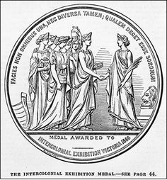 The Intercolonial Exhibition Medal, featuring seven women representing each of the Australasian colonies. Engraving by Samuel Calvert, 1867. (Courtesy of State Library of Victoria)