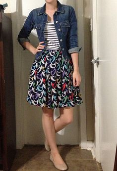 Teacher style- denim jacket with patterned skirt